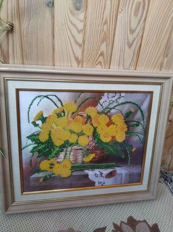 Картина бисером Одуванчики