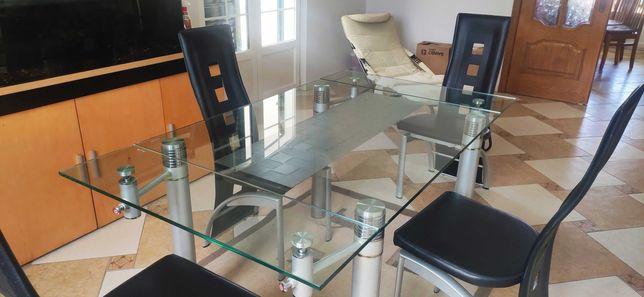 Mesa de vidro temperado 1,60 x 0,90 com opcao 4 cadeiras pele  pretas