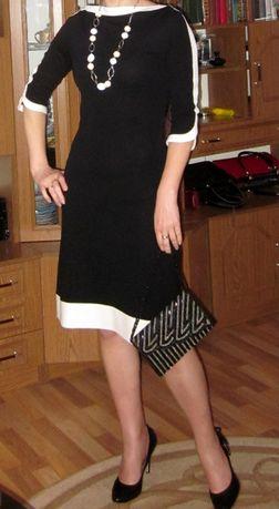Платье черное с белой отделкой // миди