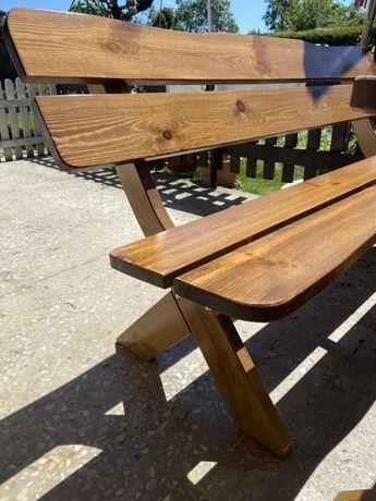 Zestaw ogrodowy drewniany stół + dwie ławy