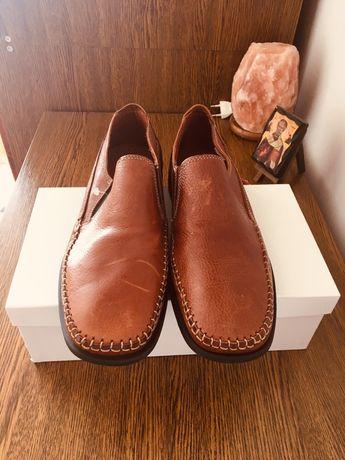 Шкірні чоловічі туфлі, кожаные туфли, мокасины, 39-40 розмір, Італія