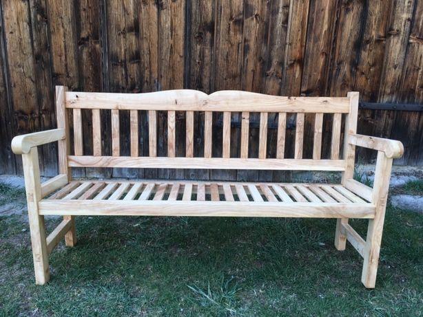 Ławka drewniana ogrodowa jesionowa czopowana rękodzieło
