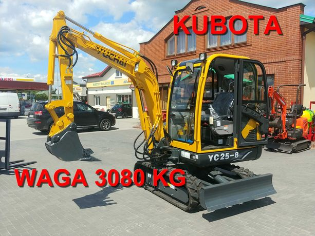 Nowa Minikoparka YUCHAI YC25-8 WAGA 3080 KG KLIMA KUBOTA JCB Leasing