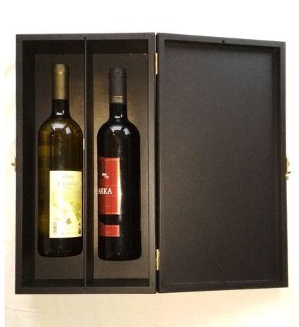 Pudełko skrzynka na dwa wina drewniane, zwymiarowane 41 x 22 x 10