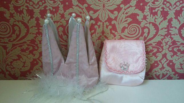 Розовая корона с пухом и жемчужинами, сумочка для принцессы