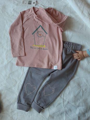 Komplet bluzka bluza spodnie legginsy r. 86 różowy szary