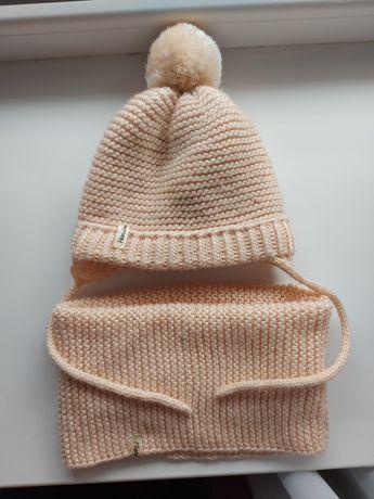 Набор вязаная шапка шапочка снуд на головку 46-48 см