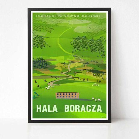 Plakat grafika Hala Boracza góry beskidy lato natura