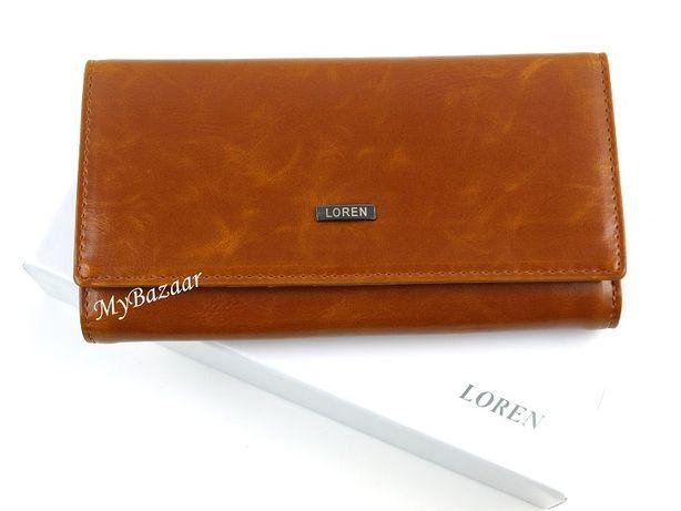 Damski, skórzany portfel LOREN 64003 brązowy elegancki skóra