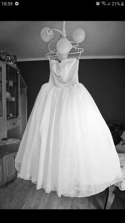 Suknia ślubna biała princessa 36