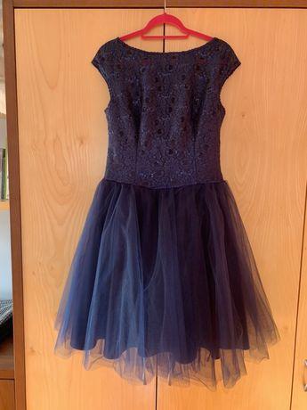 Sukienka tiulowa L/XL granatowa na wesele, studniówkę