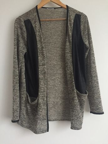 narzutka sweterek melanż 38 M skórzane wstawki czarna beżowa