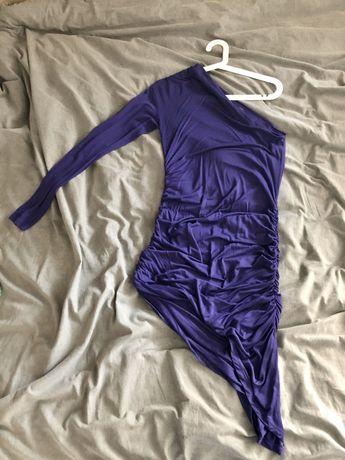 Fioletowa asymetryczna Sukienka wieczorowa Zara