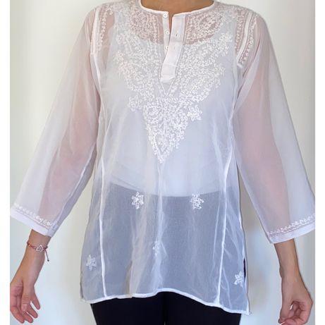 Blusa Branca Transparente