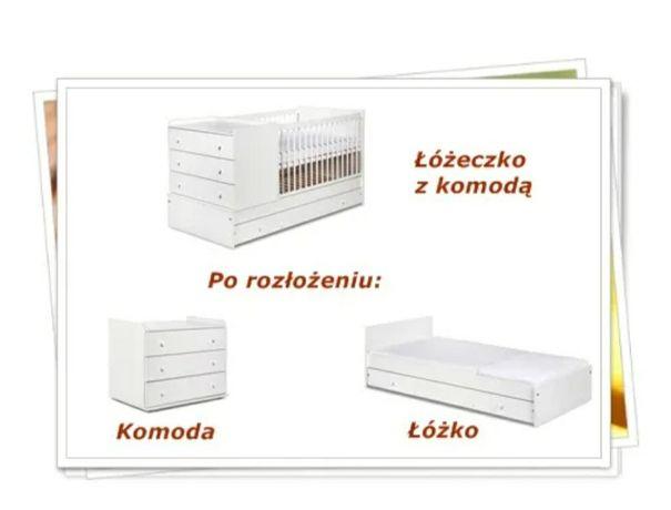 Łóżeczko + komoda + tapczanik Klupś Kompakt białe
