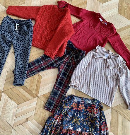 Zestaw ubrań Zara 92 98 sweter spodnie sukienka 2-3 lata