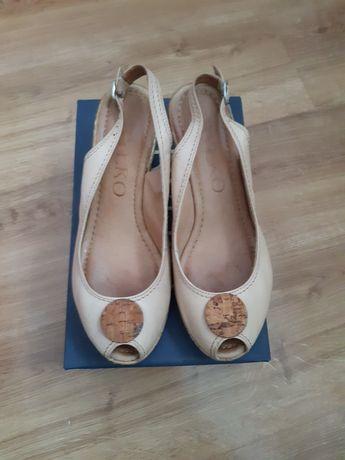 Sandały, sandałki na koturnie RYŁKO r. 40