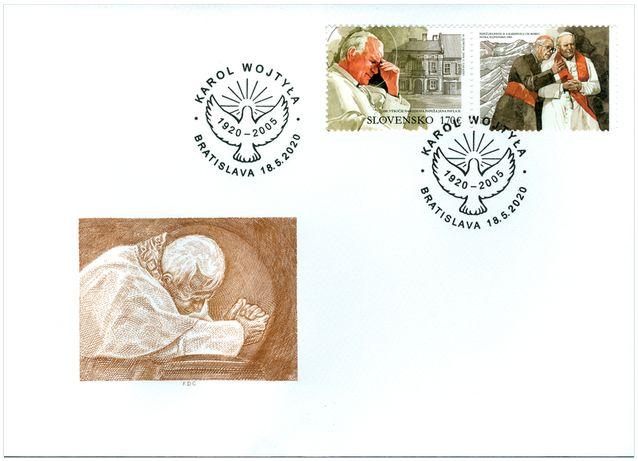 FDC z Fi -5055 ,100rocznica urodzin Jana Pawła II (wydanie słowackie)