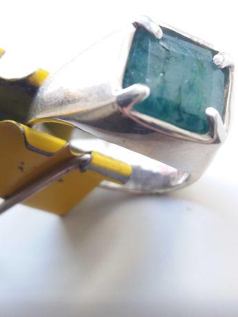 Перстень печатка мужская с изумрудом, серебро