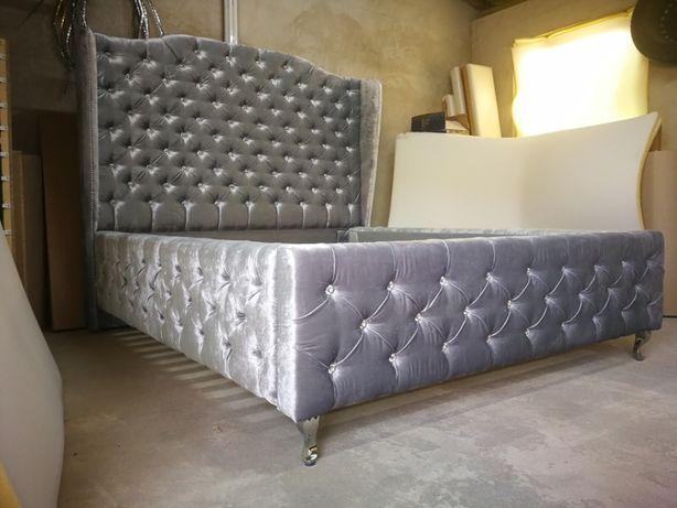 Łóżko sypialniane z wysokim zagłówkiem, uszami, kryształki VISERION
