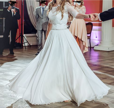 SZAMPAŃSKA suknia ślubna + bolerko