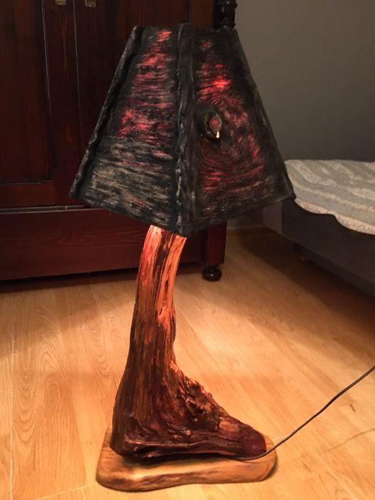 Lampa lampka wykonana recznie ze starego korzenia wiśni lampa unikalna Wejherowo - image 1