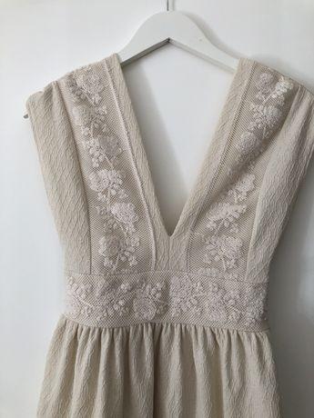 ZARA | Vestido com bordados branco | Tam. S