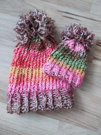 Czapki zimowe mama córka handmade nowa zestaw