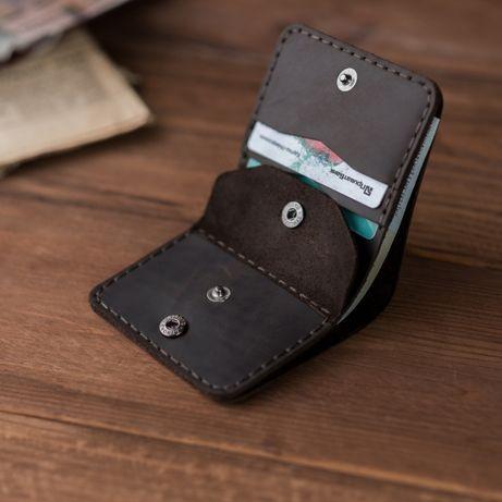 Компактный кожаный кошелек, коричневый, подарок настоящему мужчине