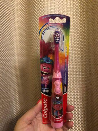 Новая электрическая зубная щетка Colgate Kids Trolls щітка зубна тролі