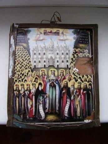 редкая старинная икона финифть 18 век Собор Антоний и Феодосий