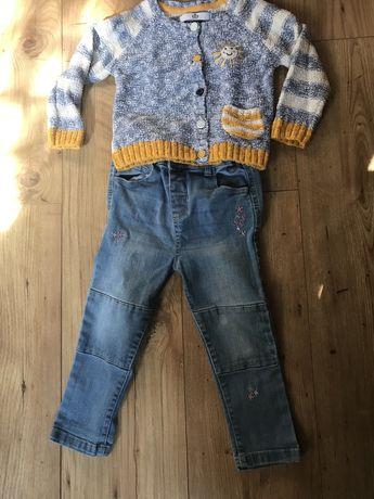 sweter M&S i jeansy  zestaw 98