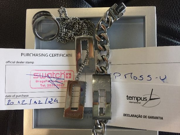 Conjunto de fio, pulseira e anel swatch(original)