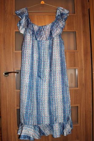 Niepowtarzalna sukienka z odkrytymi ramionami jak nowa do sprzedania