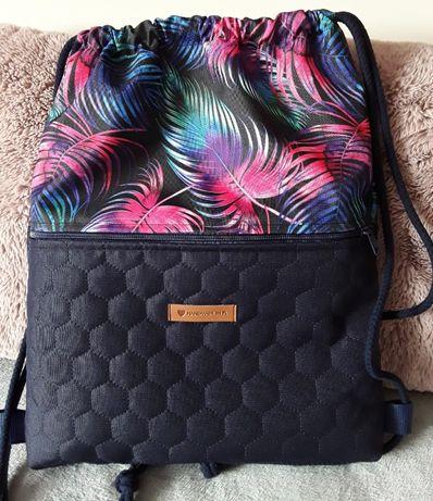 worek plecak z kieszenią wodoodporny handmade workoplecak