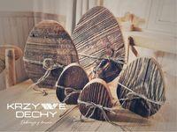 Pisanki wielkanocne ze starego drewna; różne wymiary