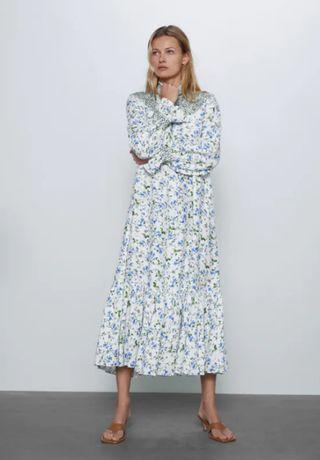 Длинное свободное платье в цветы zara