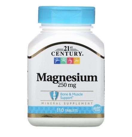 Магний 250 мг минеральная добавка витамины, 110 табл 21 Century