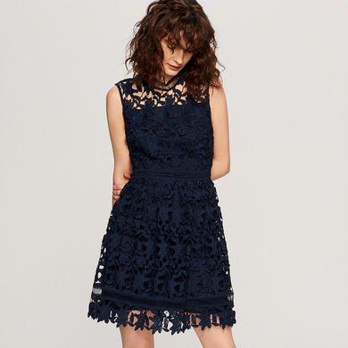 Nowa granatowa koronkowa sukienka Reserved navy HIT pinterest tumblr