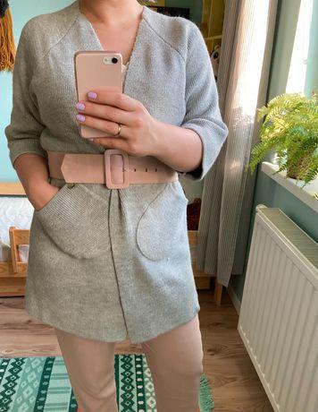 Kardigan sweter narzutka M L wełna