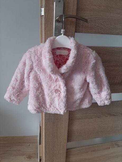Różowe futerko dziecięce, płaszczyk, 6-9 miesięcy, 68-74 cm