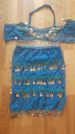 Оригинальный костюм для танца живота юбка и топ с монетками из Египта