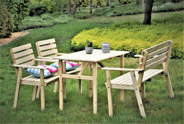 Zestaw mebli ogrodowych drewniany zestaw grill komplet wypoczynkowy