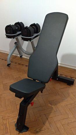 Halteres Ajustáveis 2kg-36kg + Banco Musculação + 8 Bases de Proteção