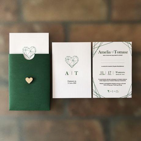 Zaproszenia ślubne - Geometryczne Serce