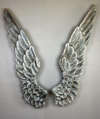 Dekoracja ścienna rzeźba skrzydła anioła XL srebrne