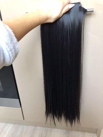 Волосы на заколках Трессы наращивания цвет Черный/Коричневый