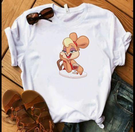 Koszulka bluzka t-shirt Królik Bugs Lola wino S M L XL XXL