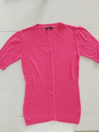 Bluzka Vila z krótkim rękawem sweterek różowy rozm. M