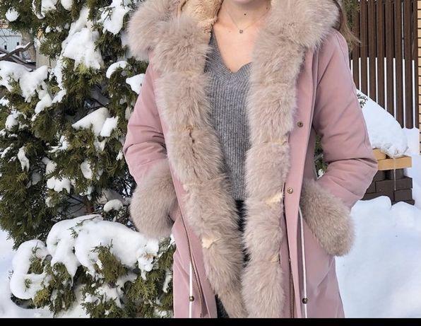 Зимнее пальто с натуральным мехом кролика внутри